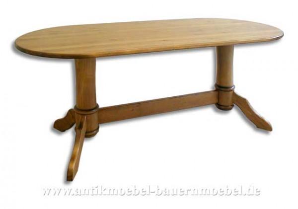 Esstisch Säulentisch Holztisch oval Massivholz Landhausstil Gründerzeit Weichholz Artikel-Nr.: est-65-r