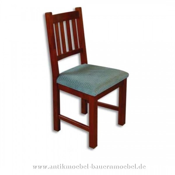 Stuhl Buche rötlich gebeizt Landhaus gepolstert mit senkrechte Streben in der Rückenlehne Artikel-Nr.: stl-34-stp