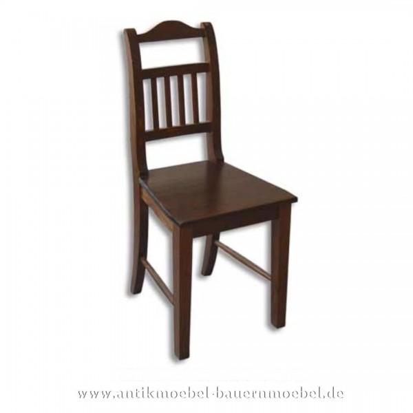 Stuhl Holzstuhl dunkelbraun Massivholz Landhausstil Rückenlehne mit senkrechte Streben Artikel-Nr.: stl-23-st