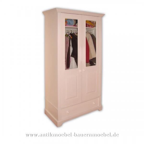 Kleiderschrank Garderobenschrank Schlafzimmermöbel weiß Lackiert Massivholz Landhausstil Artikel-Nr.: kls-27-mg
