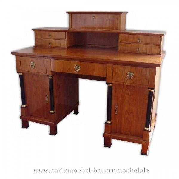 Schreibtisch mit Aufsatz+Säulen Kirschbaum Furniert Schellack Biedermeier Bürotisch Artikel-Nr.: sbt-205-sta