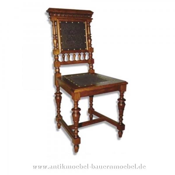 Sessel Stuhl Buche Säulenbeine Leder in Sitzfläche und Rückenlehne Gründerzeit Artikel-Nr.: stl-40c-sep