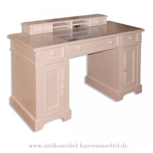 Schreibtisch mit Aufsatz weiß Lackiert Massivholz Landhausstil Gründerzeit Vollholz Artikel-Nr.: sbt-46-sta