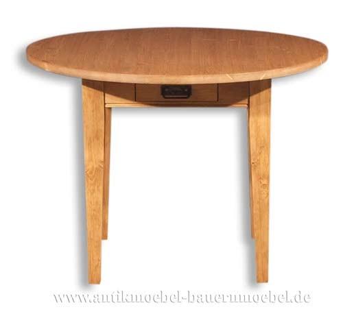 Esstisch Küchentisch Holztisch rund Massivholz Landhausstil Gründerzeit Vollholz Artikel-Nr.: est-12-r