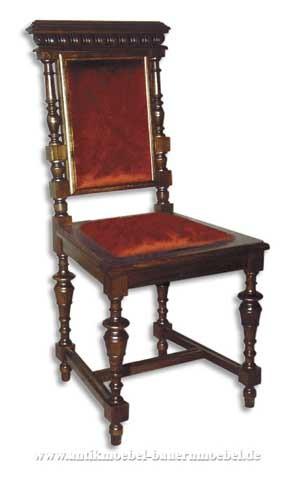 Sessel Stuhl Buche Säulenbeine Polster in Sitzfläche rot und Rückenlehne Gründerzeit Artikel-Nr.: stl-41-sep