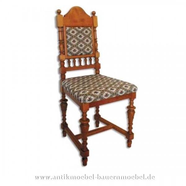 Sessel Stuhl Buche hell Säulenbeine Polster in Sitzfläche und Rückenlehne Gründerzeit Artikel-Nr.: stl-43a-sep