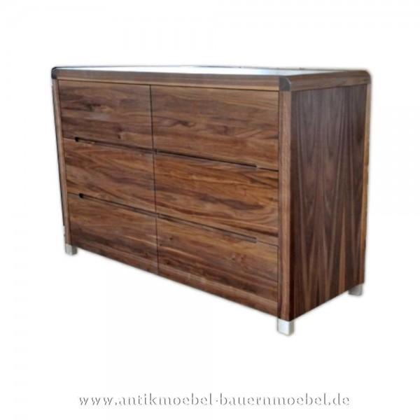 Kommode Schubladenschrank mit eckige Möbelfüße 6x Schubladen Modernes Design