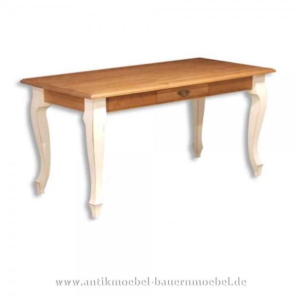 Esstisch Kulissentisch Holztisch weiß Massivholz Landhausstil Louis Phillipe quadratisch Artikel-Nr.: est-10-e