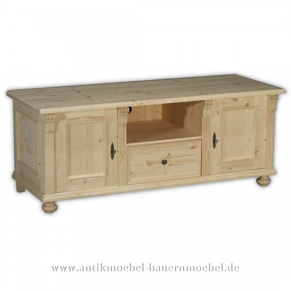 TV-Unterschrank Lowboards Hifi-Board 2-türig+Schublade Landhausstil Massivholz Naturton Artikel-Nr.: tvc-31-u