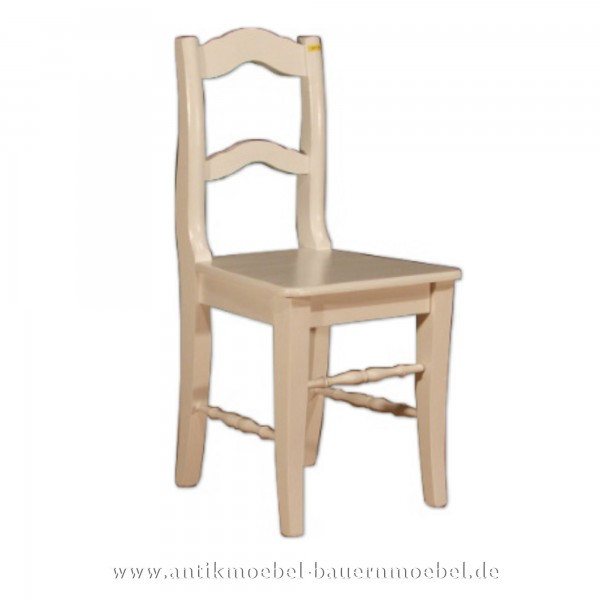 Stuhl Holzstuhl Küchenstuhl altweiss Massiv Landhausstil Rückenlehne mit gebogene Streben Artikel-Nr.: stl-21-st