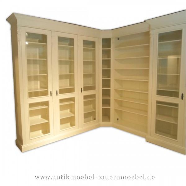 Bücherwand Schrankwand Eckschrank U-Form Massiv Landhausstil weiß Lackiert Vollholz Artikel-Nr.: bue-83-bw