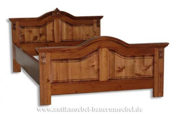 Bett Doppelbett 160x200 Gründerzeit Weichholz Massivholz Vollholz Bauernmöbel Bettgestell Gebeizt Artikel-Nr.: bet-32-d