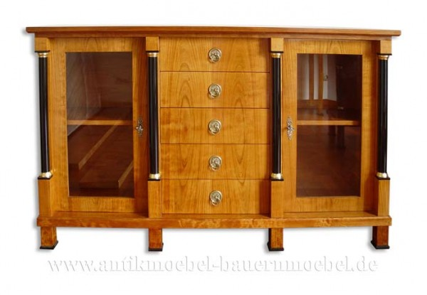 Sideboard Anrichte mit Säulen Kirschbaum Furniert Schellack Biedermeier