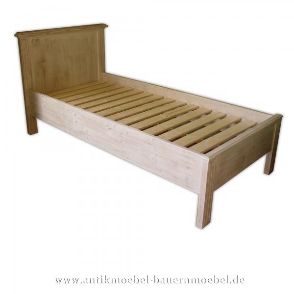 Bett Holzbett Einzelbett 90x200 Massivholz Weichholz Shabby Chic weiß Vollholz Fichte