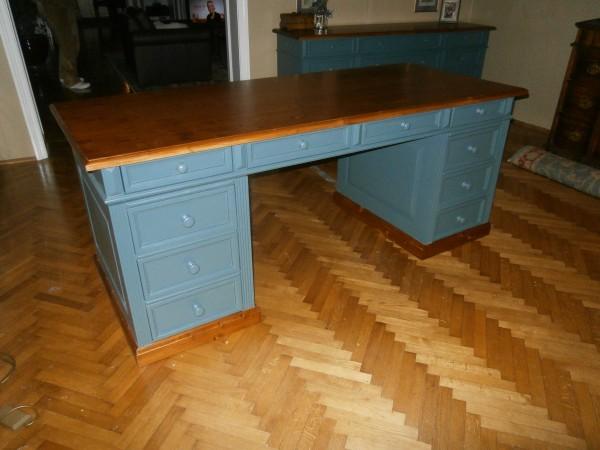 Schreibtisch freistehend blau / braun Landhausstil Massivholz Bürotisch Gründerzeit