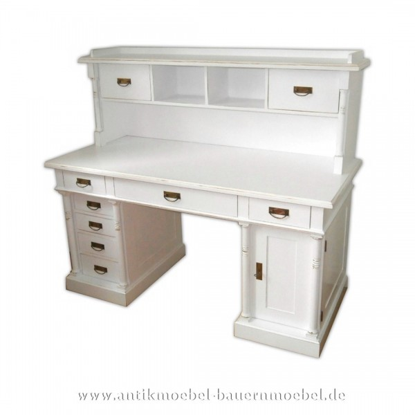 Schreibtisch mit Aufsatz+ Säulen weiß Lackiert Massivholz Landhausstil Gründerzeit Artikel-Nr.: sbt-50-sta