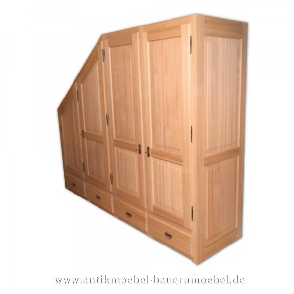 Kleiderschrank Holzschrank Wäscheschrank Abgeschrägt 4-Tür Massivholz Gründerzeit