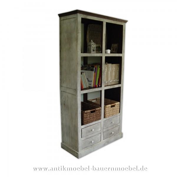 Bücherregal Holzregal Landhausstil Shabby-Chic weiß Massivholz Weichholz Lackiert