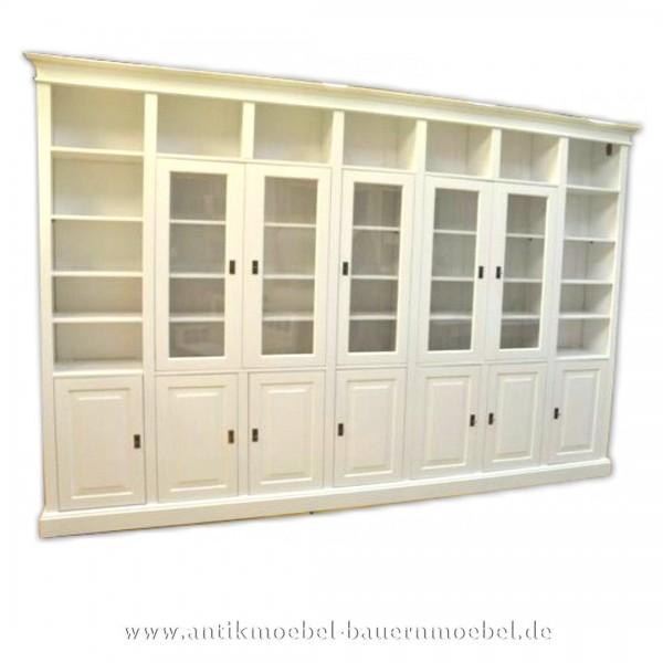 Wohnwand Bibliothek Mehrzweckschrank weiß Landhausstil Gründerzeit Massivholz