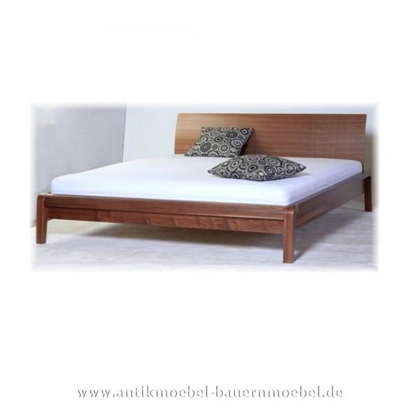 Bett Doppelbett Holzbett 180x200 Nussbaum Furniert Modern Bettgestell Lackiert