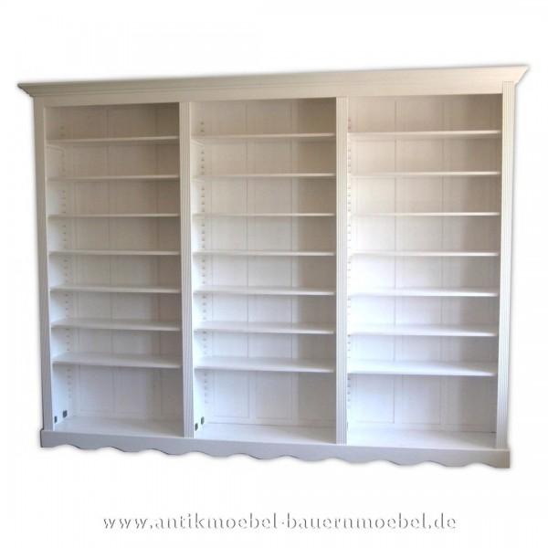 Bücherregal Regalwand Bibliothek Massivholz Landhausstil weiß Lackiert Vollholz Artikel-Nr.: bue-37-rw