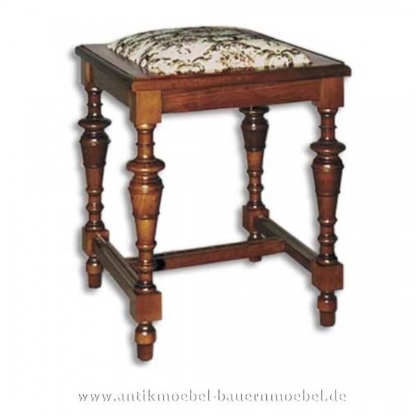 Hocker Sitzschemel mit Säulenbeine Buche Massivholz mit Stoffpolster Landhausstil Artikel-Nr.: stl-35-hkp