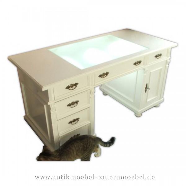 Schreibtisch mit Glaseinsatz weiß Landhausstil Massivholz Lackiert Bürotisch Weichholz Artikel-Nr.: sbt-43-st