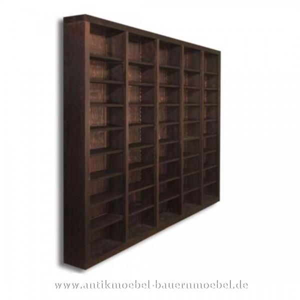 Bücherregal Regalwand Bibliothek Weichholz Massiv Landhausstil Vollholz Gebeizt Artikel-Nr.: bue-33-rw