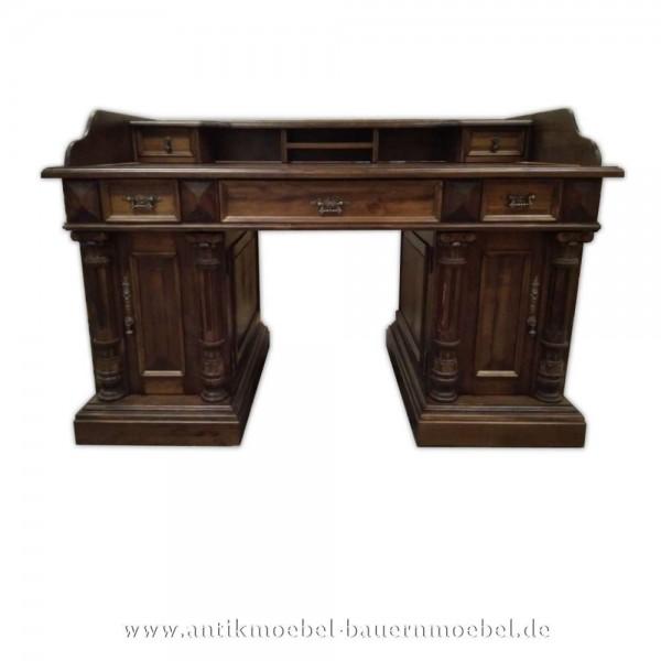 Schreibtisch mit Aufsatz+Säulen Landhausstil Gründerzeit Massivholz PC- Arbeitstisch Bürotisch Artikel-Nr.: sbt-59-sta-L