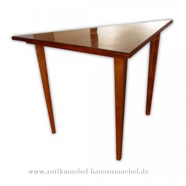 Beistelltisch Tisch eckig Biedermeier Empire Kirschbaum Schellack dreieckig Lackiert