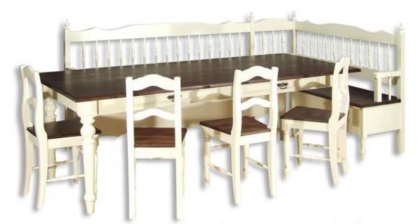 Essecke Essgruppe Tischgruppe Esszimmermöbel Massiv Landhausstil Zweifarbig Vollholz