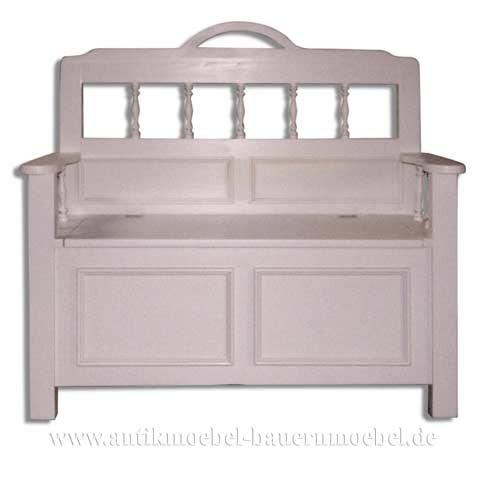 Sitzbank Massivholz weiß mit Stauraum & Armlehne Truhenbank 105cm Landhausstil Artikel-Nr.: szb-24-ma
