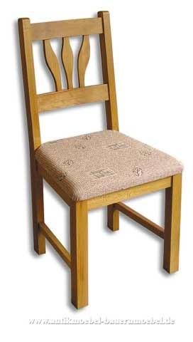 Stuhl Holzstuhl Buche Massiv Landhausstil gepolstert mit Blätterformen in der Rückenlehne Artikel-Nr.: stl-33-stp