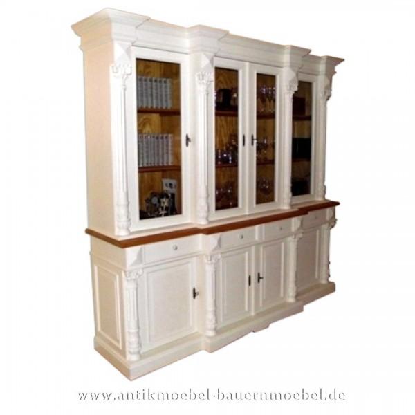 Wohnzimmerschrank Esszimmerschrank zweifarbig weiß+Naturton Massivholz Landhausstil wos-31-s