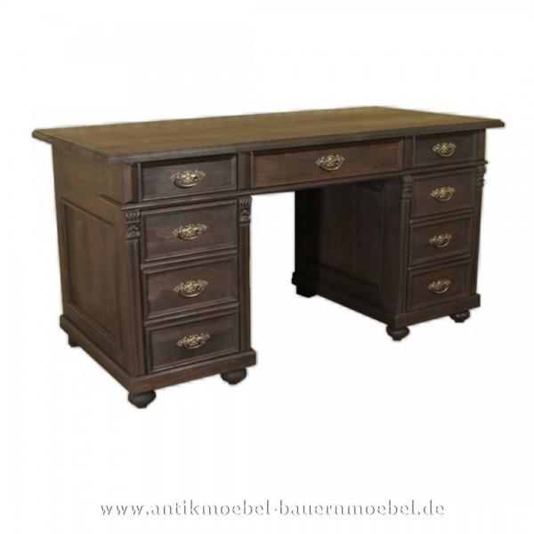 Schreibtisch Landhausstil Massivholz Bürotisch PC- Arbeitstisch dunkelbraun Gebeizt Artikel-Nr.: sbt-14b-ns