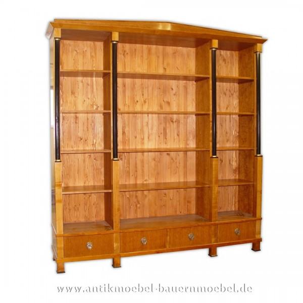 Bücherschrank Bücherregal Holzregal Biedermeier Empire Kirschbaum Schellack Lackiert