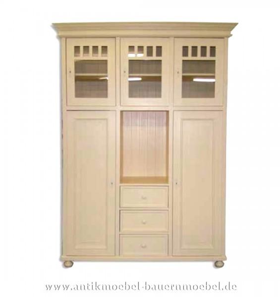 Kleiderschrank Schrank Küchenmöbel Massivholz Landhaus weiß Lackiert Weichholz