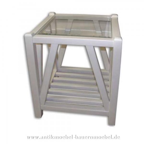 Beistelltisch Couchtisch weiß Lackiert Massivholz Glasplatte Quadratisch Weichholz