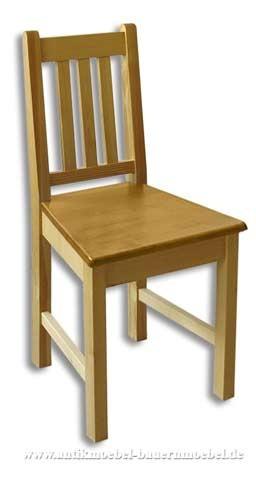 Stuhl Holzstuhl gepolstert Fichte Massiv Landhausstil Rückenlehne mit senkrechte Streben Artikel-Nr.: stl-14-stp