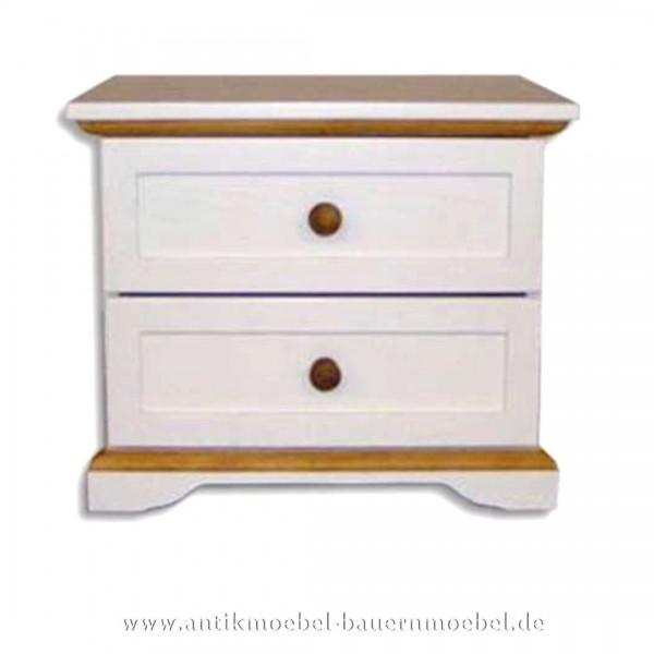 Kommode Nachttisch 2x Schubladen Massivholz Zweifarbig weiß/Naturton Landhausstil Artikel-Nr.: kmd-30