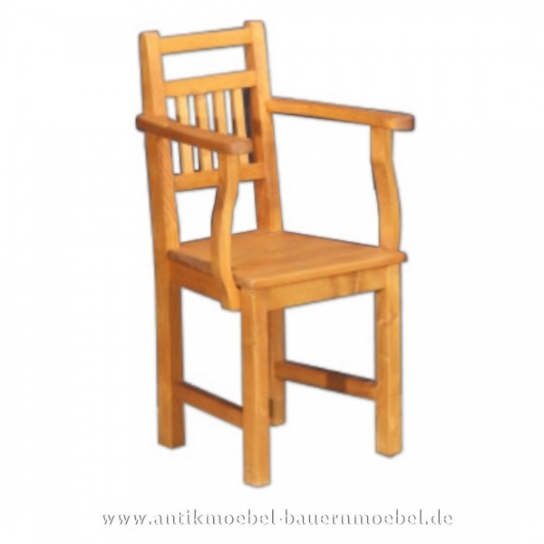 Stuhl Holzstuhl mit Armlehne Massivholz Landhausstil Rückenlehne mit senkrechte Streben