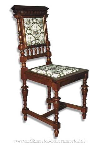 Sessel Stuhl Buche Säulenbeine Polster in Sitzfläche und Rückenlehne Gründerzeit Artikel-Nr.: stl-40-sep