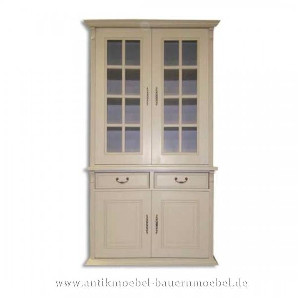 Bücherschrank Küchenschrank Massivholz Landhausstil /--möbel weiß Vollholz Weichholz