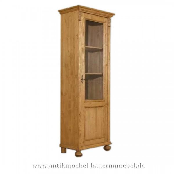 schmale Vitrine Naturton Landhausstil Massiv Weichholz Vitrinenschrank Tür verglaßt Artikel-Nr.: vit-04-s