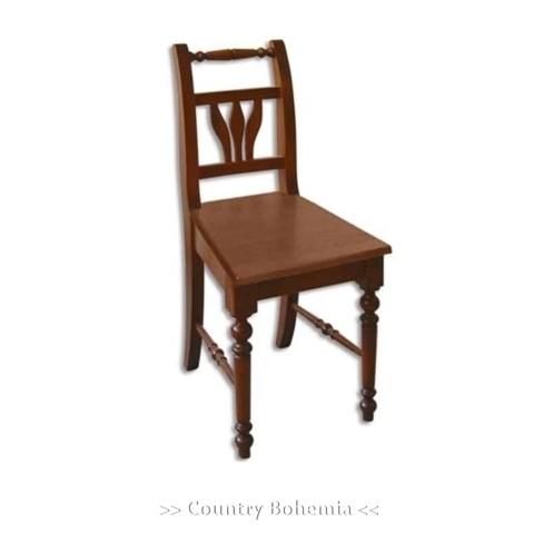 Stuhl Fichte Massivholz Landhausstil Holzstuhl mit Blätterformen in der Rückenlehne Artikel-Nr.: stl-22-st