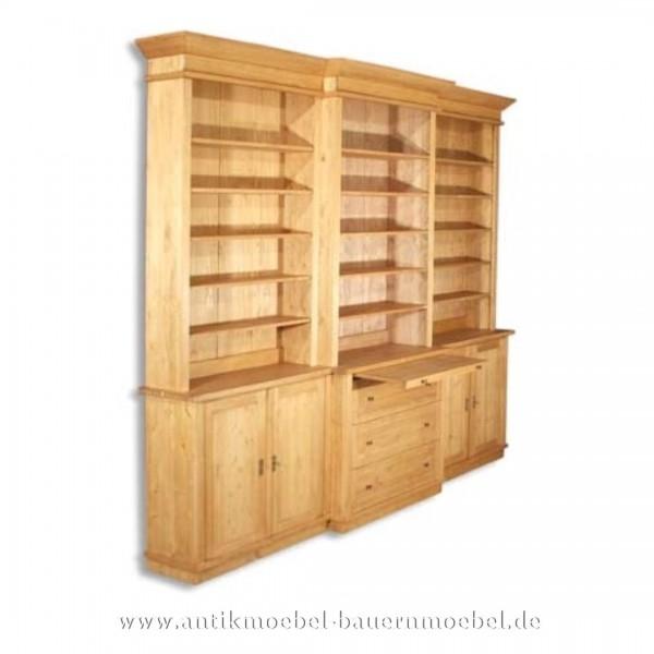 Bücherschrank Bücherregal Büroschrank Landhausstil Weichholz Massivholz Gewachst Artikel-Nr.: bue-36-rw