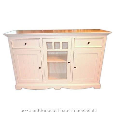 Halbschrank Sideboard Küchen-Anrichte weiß lackiert Gründerzeit Massivholz Landhausstil