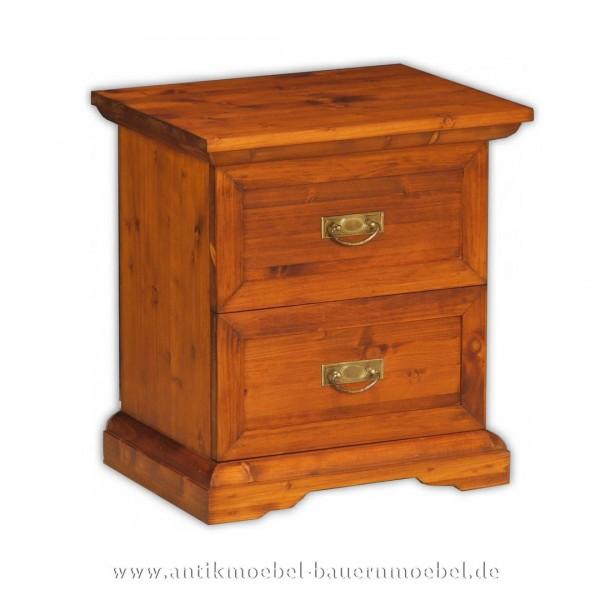 Kommode Nachttisch Nachtkonsole 2x Schubladen massiv Landhausstil Weichholz Artikel-Nr.: kmd-22