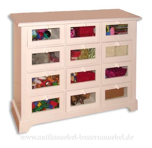 Kommode 12 Schubladen mit Fenster weiß Lackiert Vollholz Landhausstil Massivholz Artikel-Nr.: kmd-08