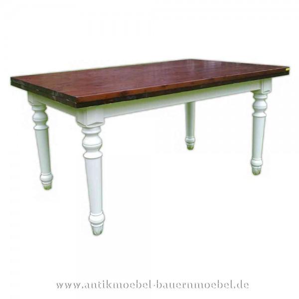 Esstisch Küchentisch Holztisch weiß Landhausstil Massivholz Gründerzeit quadratisch Artikel-Nr.: est-52-e